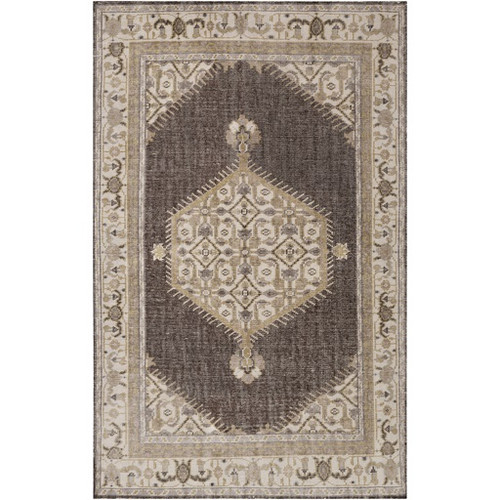 5.5' x 8.5' Brown and Gray Hand Knotted Rectangular Wool Area Throw Rug - IMAGE 1