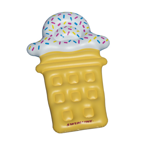 Inflatable Yellow and White Ice Cream Cone Floating Lounge Raft, 12-Inch - IMAGE 1