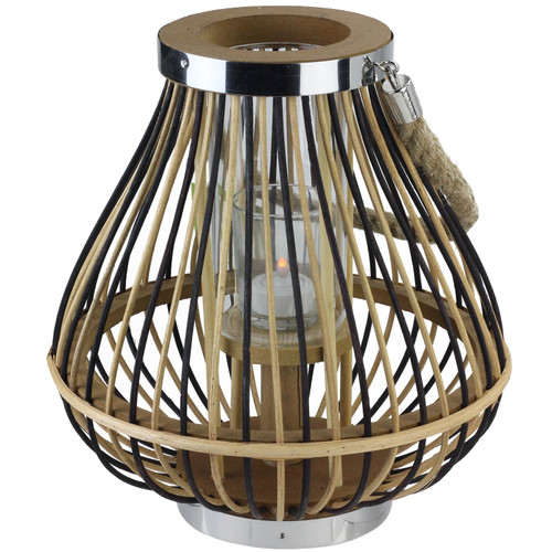 """11"""" Rustic Chic Pear Shaped Rattan Candle Holder Lantern with Jute Handle - IMAGE 1"""
