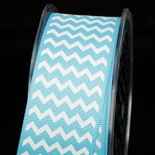 "Blue and White Chevron Grosgrain Craft Ribbon 1.5"" x 120 Yards - IMAGE 1"