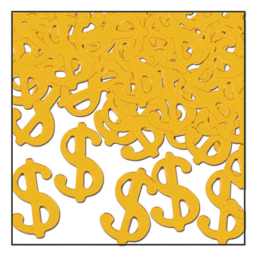 Club Pack of 12 Gold Fanci-Fetti Casino Night Celebration Confetti Bags 1 Oz - IMAGE 1