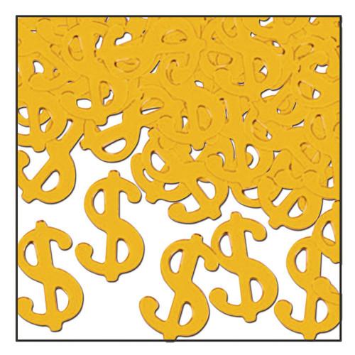 Club Pack of 12 Gold Fanci-Fetti Casino Night Celebration Confetti Bags 1 Oz - IMAGE 1