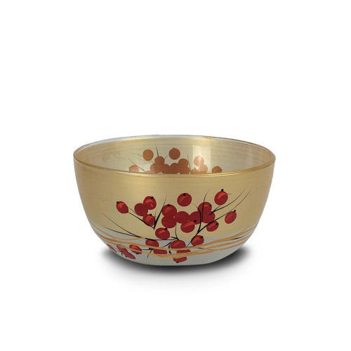 """Set of 2 Red and Gold Holly Berries Hand Painted Glass Serving Bowls 6"""" - IMAGE 1"""