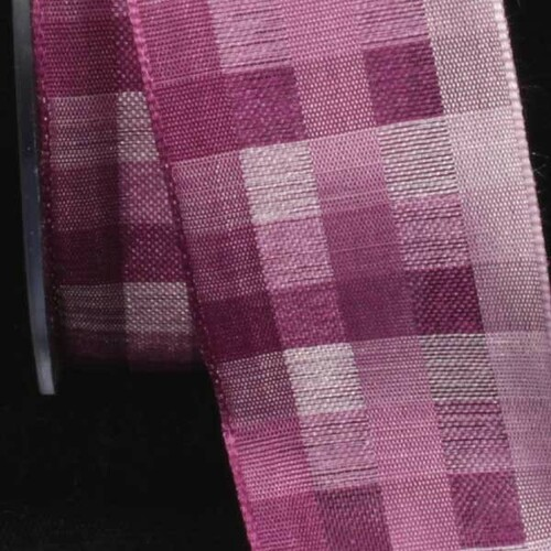 """Purple and Pink Plaid Wired Craft Ribbon 1.5"""" x 50 Yards - IMAGE 1"""