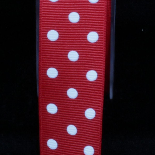 """Red and White Polka Dots Woven Grosgrain Craft Ribbon 1"""" x 88 Yards - IMAGE 1"""