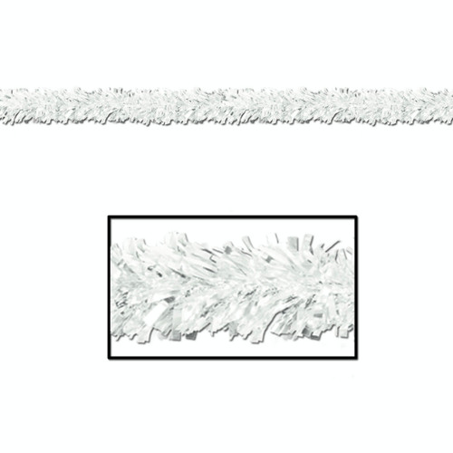 Pack of 12 Shiny Metallic White Tinsel 6-Ply Christmas Garlands 15' - Unlit - IMAGE 1