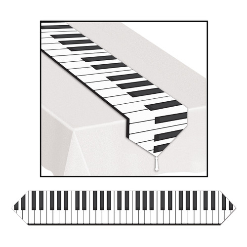 Club Pack of 12 White and Black Printed Piano Keyboard Table Runner 6' - IMAGE 1