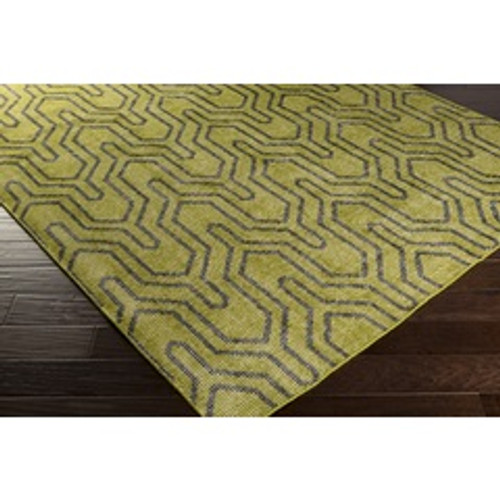 5.5' x 8.5' Green Hand Knotted Rectangular Wool Area Throw Rug - IMAGE 1