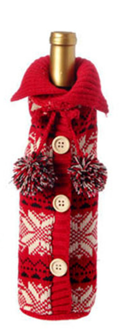 """11"""" Alpine Chic Red, Black and Cream Snowflake Nordic Design Knit Christmas Wine Bottle Cover - IMAGE 1"""