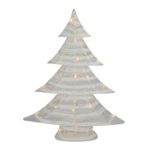 """24.5"""" White and Silver Battery Operated Glittered LED Christmas Tree Tabletop Decor - IMAGE 1"""