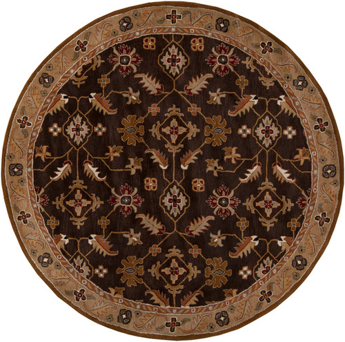 8' Espresso Brown and Gray Hand Tufted Round Area Throw Rug - IMAGE 1