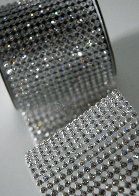 """Crystal Diamonds Craft Ribbon Trim with Silver and Clear Setting 2.75"""" x 1 Yard - IMAGE 1"""