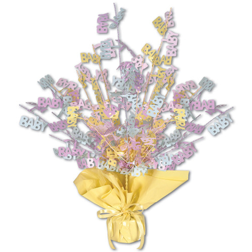 """Club Pack of 12 Pink and Yellow Foil Spray Baby Shower Gleam 'N Burst Centerpiece 15"""" - IMAGE 1"""