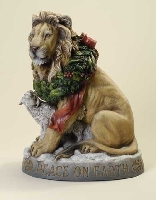 "19.25"" Beige and Gray Lion with Lamb 'Peace on Earth' Christmas Tabletop Figurine - IMAGE 1"
