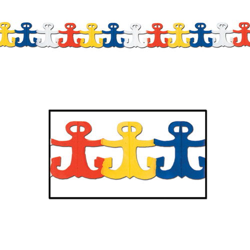 Club Pack of 12 Vibrantly-Colored Nautical Anchor Garland Party Decorations 12' - IMAGE 1