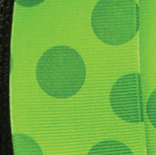 """Green Polka Dotted Wired Craft Ribbon 1.5"""" x 27 Yards - IMAGE 1"""
