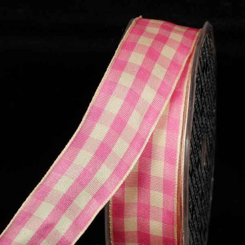 """Pink and Ivory Gingham Wired Woven Edge Craft Ribbon 1.5"""" x 27 Yards - IMAGE 1"""