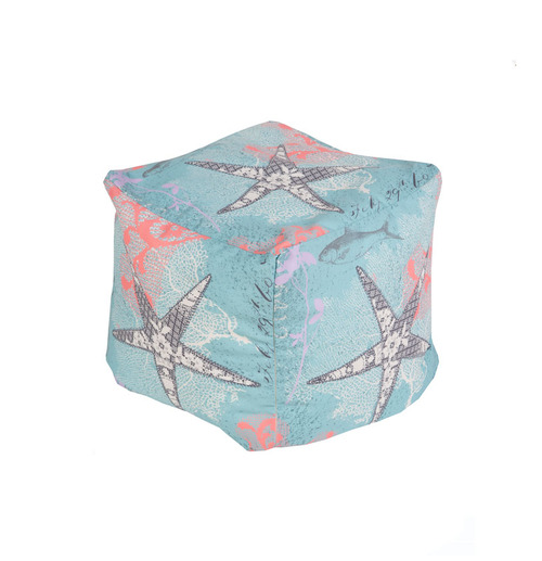 "18"" Sky Blue, Coral Pink and Ivory Aquatic Sea Life Square Outdoor Patio Pouf Ottoman - IMAGE 1"