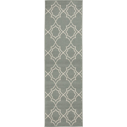 2.25' x 11.75' Blue and Beige Contemporary Rectangular Area Throw Rug Runner - IMAGE 1