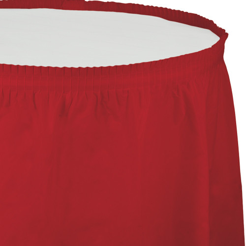 Pack of 6 Classic Red Pleated Disposable Plastic Picnic Party Table Skirts 14' - IMAGE 1