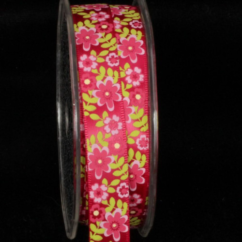 Pink and Yellow Summer Flowers Craft Ribbon 0.5-Inch x 54 Yards - IMAGE 1
