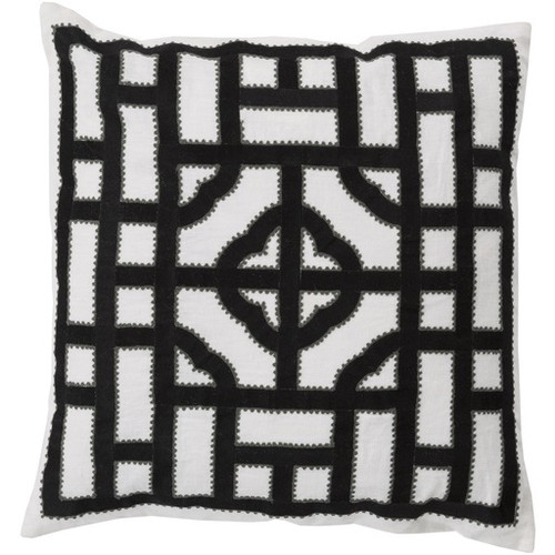 """20"""" White and Black Contemporary Throw Pillow - IMAGE 1"""
