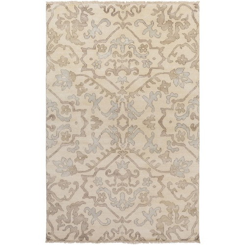5.5' x 8.5' Gypsy Damask Caramel Brown and Gray Hand Knotted Wool Area Throw Rug - IMAGE 1