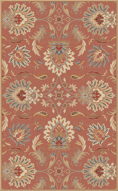 4' x 6' Cornelian Terracotta Red and Brown Hand Tufted Floral Rectangular Wool Area Throw Rug - IMAGE 1
