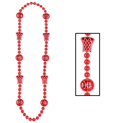 """Club Pack of 12 Red Basketball Beaded Necklaces 36"""" - IMAGE 1"""