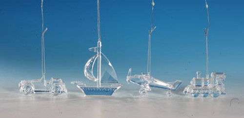 "Club Pack of 16 Clear Icy Crystal Decorative Transportation Ornaments 4.5"" - IMAGE 1"