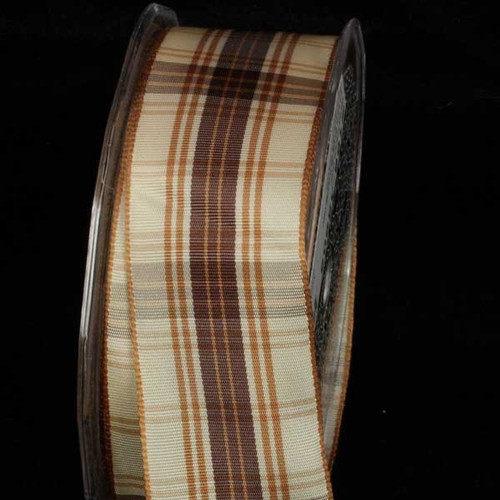 """Ivory and Brown French Plaid Wired Craft Ribbon 1.5"""" x 27 Yards - IMAGE 1"""