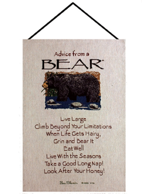 """Brown and Ivory """"Advice from a Bear"""" Wall Art Hanging Tapestry 26"""" x 16"""" - IMAGE 1"""
