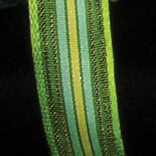 """Green and Blue Striped Wired Craft Ribbon 0.5"""" x 108 Yards - IMAGE 1"""