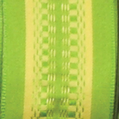 """Green and Yellow Woven Wired Craft Ribbon 1.5"""" x 54 Yards - IMAGE 1"""