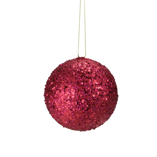 "Holographic Glitter Drenched Red Shatterproof Christmas Ball Ornament 4.75"" (120mm) - IMAGE 1"