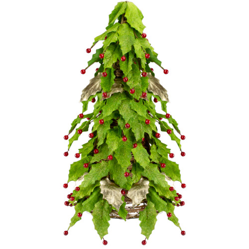 1.5' Slim Twas Night Red Holly Berry and Leaf Artificial Christmas Cone Tree - Unlit - IMAGE 1