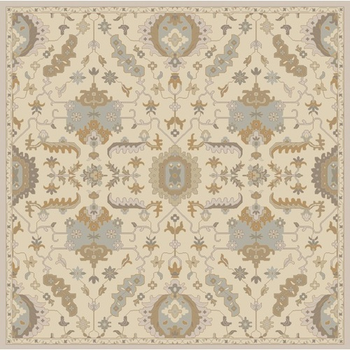 9.75' x 9.75' Ivory White and Olive Green Hand Tufted Square Wool Area Throw Rug - IMAGE 1