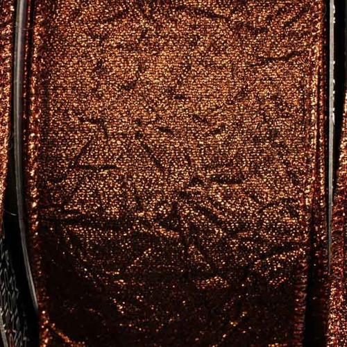 """Copper Brown Crush Wired Edge Craft Ribbon 2.5"""" x 20 Yards - IMAGE 1"""