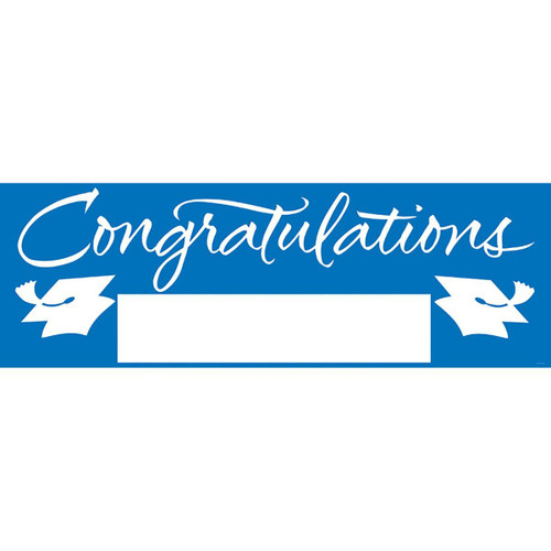 """Pack of 6 True Blue and White Giant Graduation Party Banners 60"""" - IMAGE 1"""