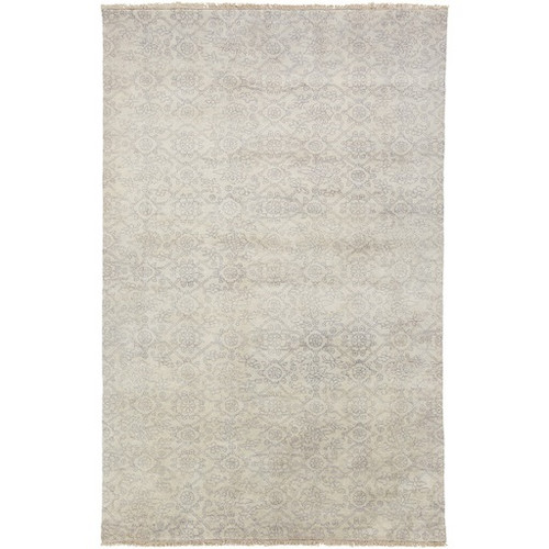 5.5' x 8.5' Sandy Sheet Gray and Beige Hand Knotted Rectangular New Zealand Wool Area Throw Rug - IMAGE 1