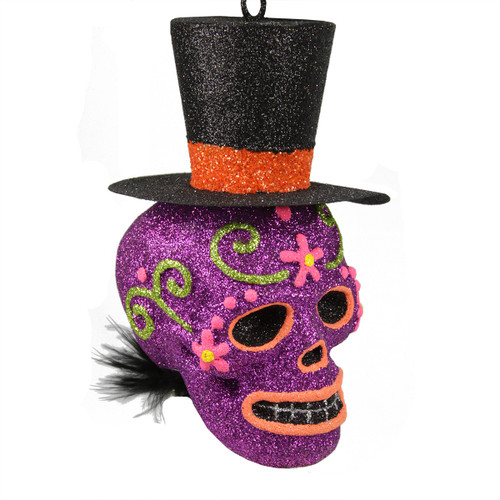 """6"""" Purple and Black Day of the Dead Glitter Drenched Skull with Top Hat Halloween Ornament - IMAGE 1"""
