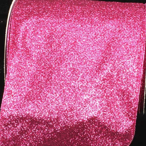 "Sparkling Pink Glitter Wired Craft Ribbon 6"" x 20 Yards - IMAGE 1"