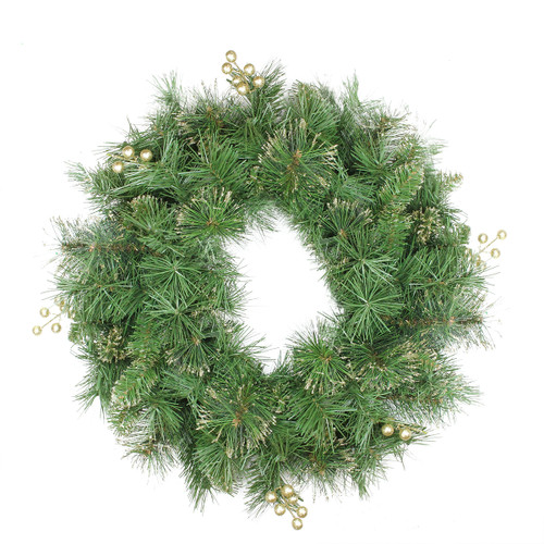 Mixed Pine and Glittered Berry Artificial Christmas Wreath - 24-Inch, Unlit - IMAGE 1