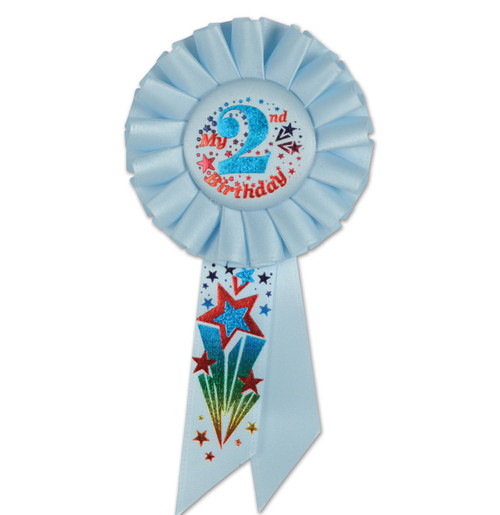 """Pack of 6 Blue """"My 2nd Birthday"""" Party Celebration Rosette Ribbons 6.5"""" - IMAGE 1"""