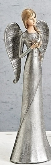 """12.5"""" Glittered Silver Praying Musical Angel with Dove Christmas Tabletop Decoration - IMAGE 1"""