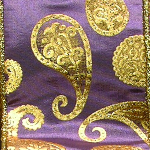 "Purple and Gold Paisley Wired Craft Ribbon 6"" x 20 Yards - IMAGE 1"