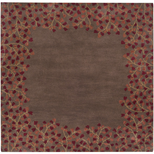8' x 8' Brown and Red Hand-Crafted Square Wool Area Throw Rug - IMAGE 1