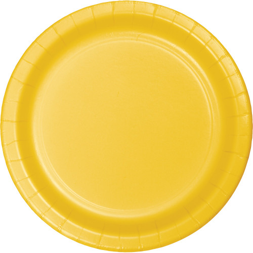 """Club Pack of 192 Yellow Round Disposable Paper Party Luncheon Plates 7"""" - IMAGE 1"""