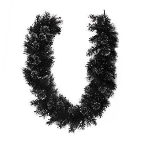 6' x 9 Pre-Lit Battery Operated Black Bristle Artificial Christmas Garland - Warm White LED Lights - IMAGE 1