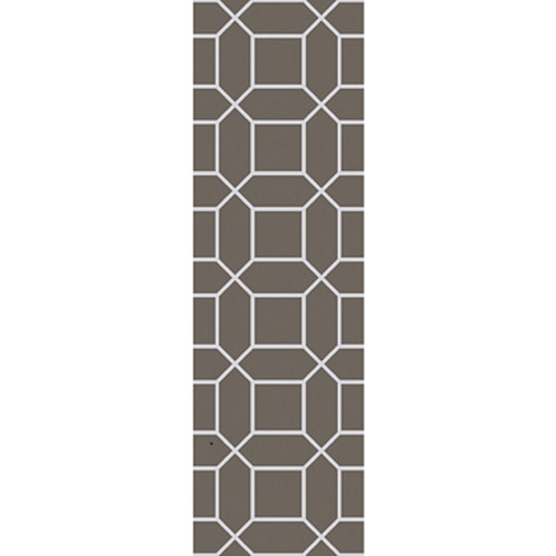 2.5' x 8' Innocuous Octagons Charcoal Gray and White Hand Woven Outdoor Area Throw Rug Runner - IMAGE 1